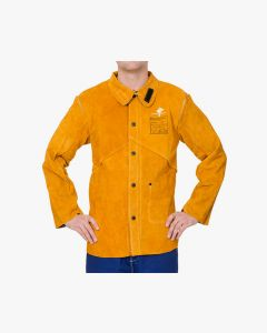 Weldas Golden Brown split cowleather welding jacket with flame retardant cotton back